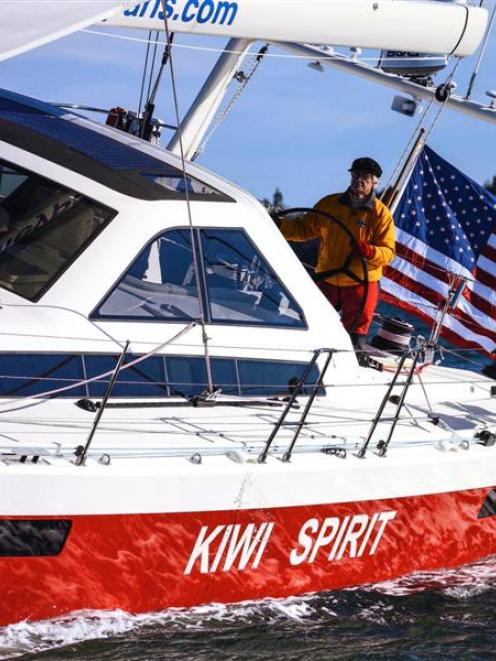 Former Dunedin man Stanley Paris on board his yacht Kiwi Spirit. Photo supplied.