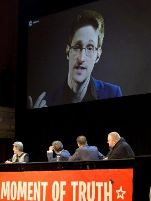 Former NSA USA whistleblower Edward Snowden, via video link at The Moment of truth event, held in...