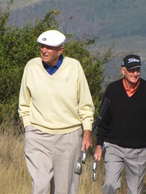 Former NZ PGA champion Bob Glading  and New Zealand legend Sir Bob Charles head to the tee ...