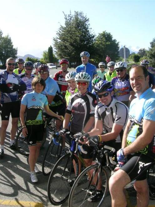 Former Olympian and Commonwealth cyclist Jon Andrews (front right) with some of the Wanaka Monday...
