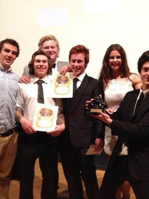 Forty-eight-hour film competition finalists (from left) Woody Bruce, Cameron Hunt, Sam Mehrtens,...