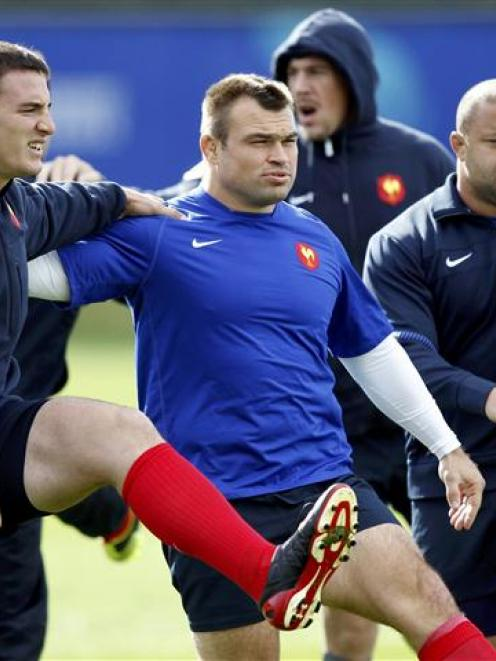 France's Nicolas Mas (centre) will miss the clash with New Zealand.   REUTERS/Bogdan Cristel