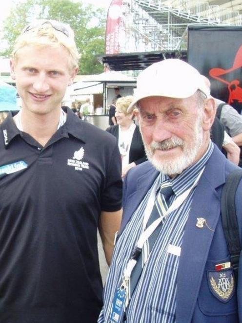 Fred Strachan (right), the former coach of Hamish Bond (left), at the World Rowing Championships...