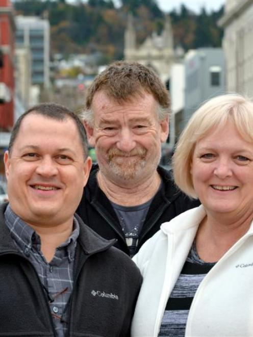 Galen Peterson (left), Ross Mollison and Dana Peterson catch up in Dunedin, after the Petersons'...