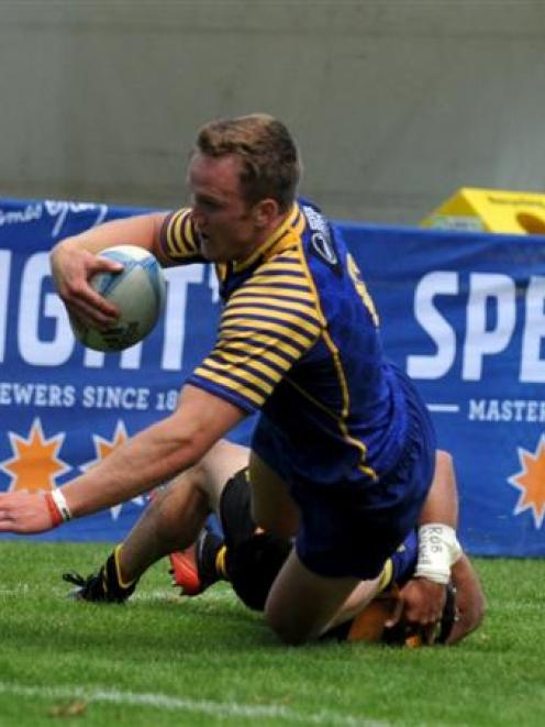 Gareth Evans scores for Otago against Taranaki in the semifinal of the rugby sevens in Queenstown...