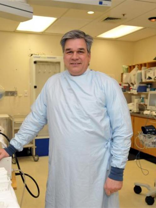 Gastroenterologist Dr Michael Schultz in the colonoscopy suite at Dunedin Public Hospital...