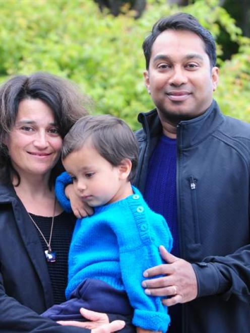 Gautam Ghosh and wife Ceilia Novero with son Emilio Kumar (2) at their Roslyn, Dunedin, home...