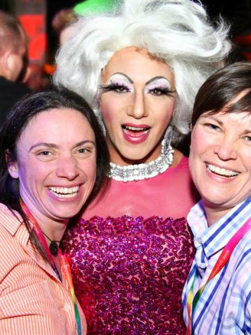 Gay Ski Week QT organisers Sally Whitewoods (left) and Mandy Whitewoods with Little Miss Cinnamon...