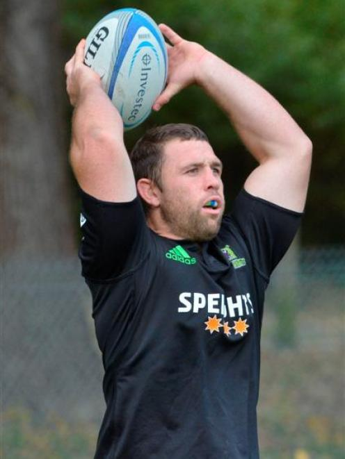 Ged Robinson going through his paces at Highlanders training at Logan Park yesterday. Photo by...