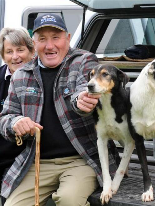 Geoff and Joyce Allison, with dogs Fay and Nell, at the South Island sheep dog trial...