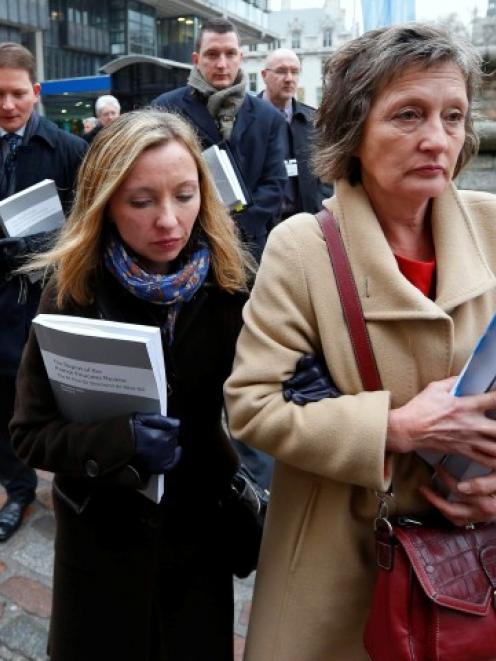 Geraldine Finucane (R), the widow of murdered Belfast solicitor Pat Finucane, arrives for a media...
