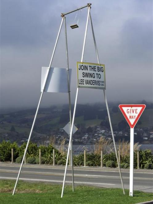 Giant swings promoting Lee Vandervis have appeared at eight locations around Dunedin. Photo by...