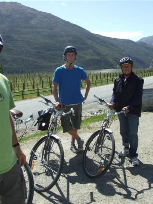 "Gibbston ""de Vine"" cycle tour operator Greg McIntyre makes a stop at the Mt Rosa Winery in the..."