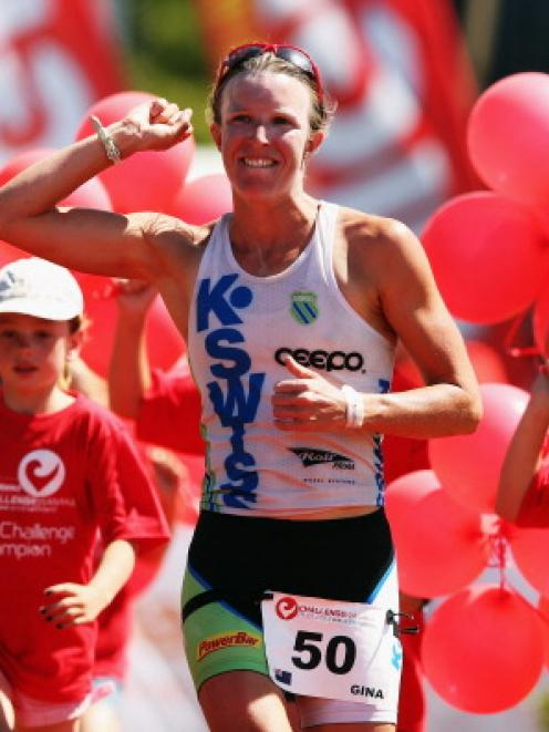Gina Crawford celebrates her victory in Challenge Wanaka today. (Photo by Hannah Johnston/Getty...