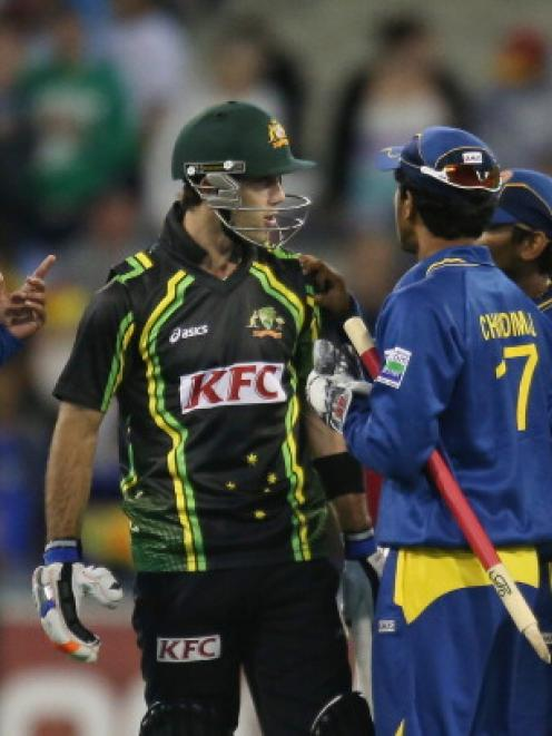 Glenn Maxwell of Australia in a heated exchange with members of the Sri Lankan team.  (Photo by...