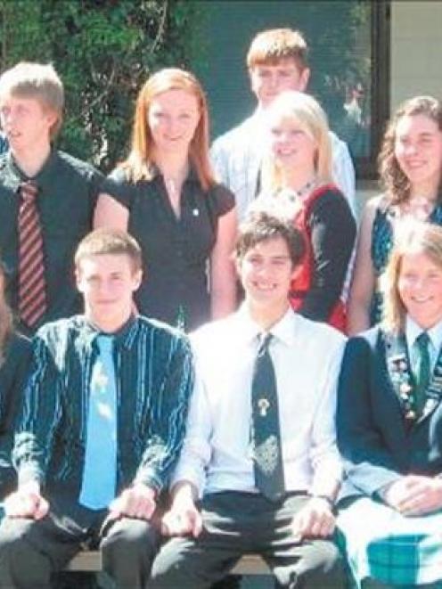 Gold Duke of Edinburgh recipients:(back row from left) Scott Stiven, Blair Thomson (both 19) and...