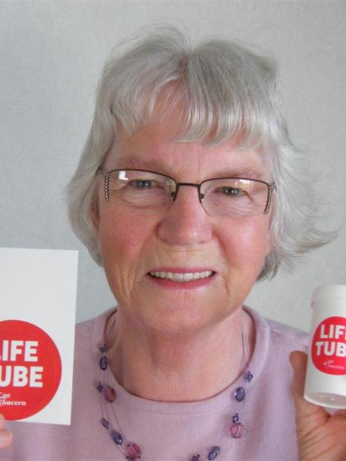 Gore woman Melva Beer is promoting Life Tubes, which contain medical information and are kept in...