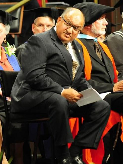 Governor-General Anand Satyanand sits on stage at the University of Otago graduation ceremony at...