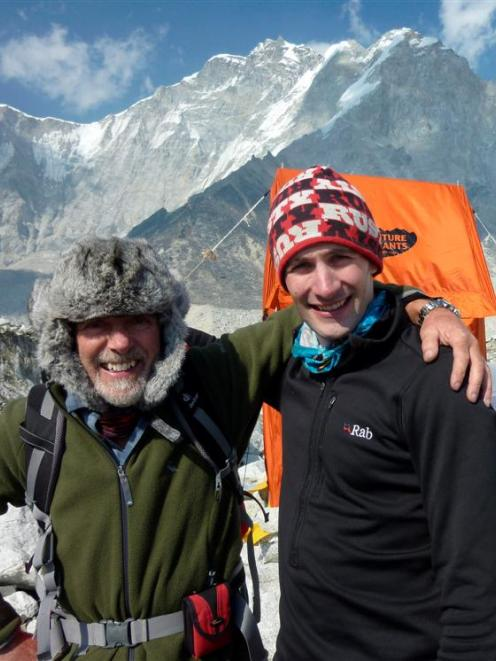 Graeme Hall (left) and son Dean at Mt Everest Base Camp in the Himalayas. Photo supplied.