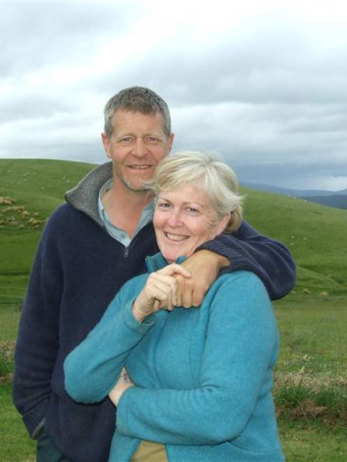 Graham Clarke and partner Giselle McLachlan at home on their 1000ha sheep farm near Waipahi,...