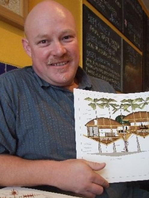 Graham Roebuck with an impression of the castaway treehouse design he submitted for an online...