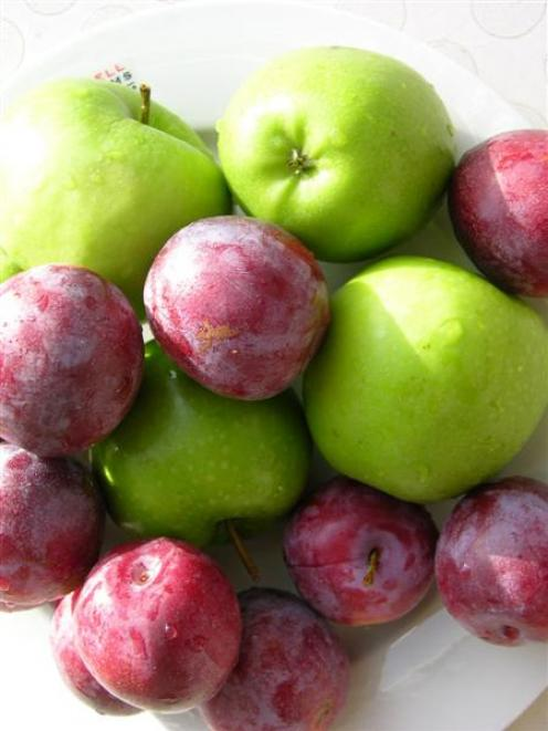 Granny Smith apples and plums.