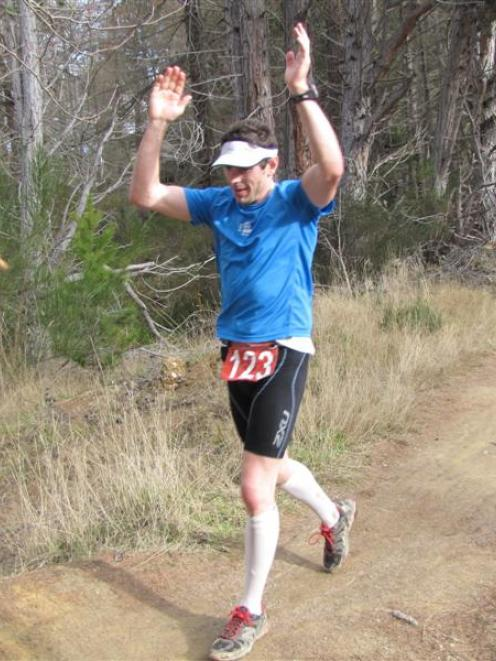 Great Naseby Water Race 100km winner Chris Bisley, of Dunedin, celebrates as he crosses the...