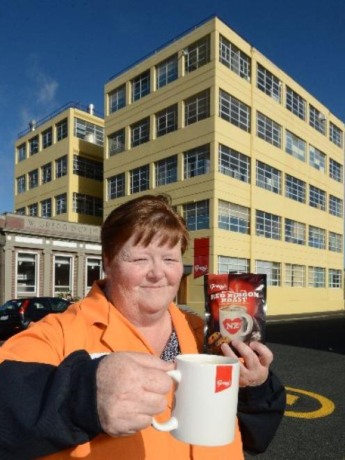 Gregg's coffee production manager Glenys Fraser with a cuppa outside the Gregg's factory in Forth...