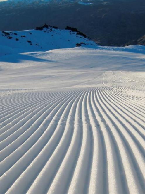 Groomed corduroy  piste  at the Cardrona ski area. Photos supplied.