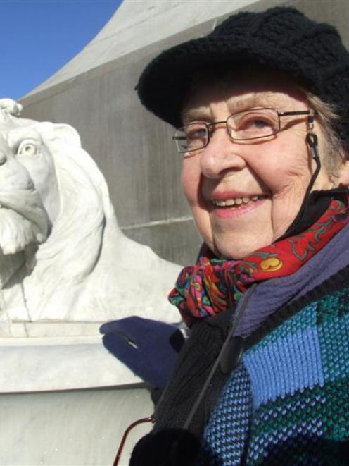 Guest Shirley Gillies switched on the lion fountain on the Boer War memorial during Saturday's...