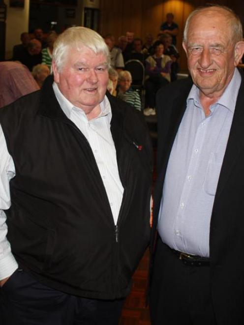 Haast-Hollyford highway meeting organiser Merv Halliday (left) and road promoter Durham Havill at...