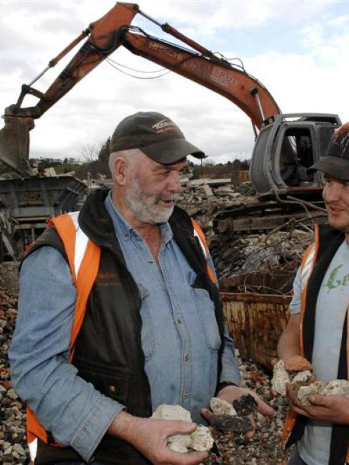 Hall Bros Transport Ltd owner Doug Hall (left) and contract manager Nic McEwan (right) discuss...