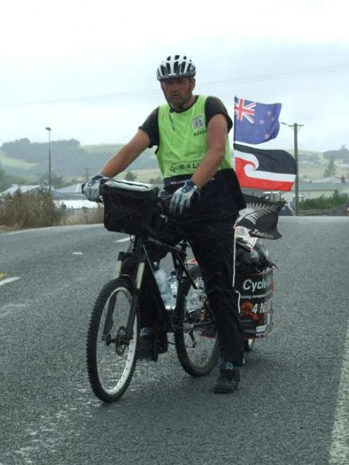 Hamilton man Karlyn Connolly sets off for Owaka from Balclutha yesterday afternoon. Photo by...
