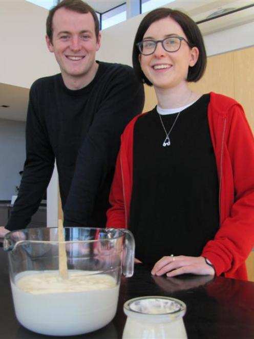 Hamish Macintosh (left) and Alice Marsh hope to eventually sell their Thykk Yoghurt throughout...