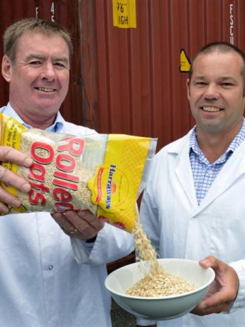 Harraways chief executive Stuart Hammer (left) and sales manager Rodney Johnston with a package...
