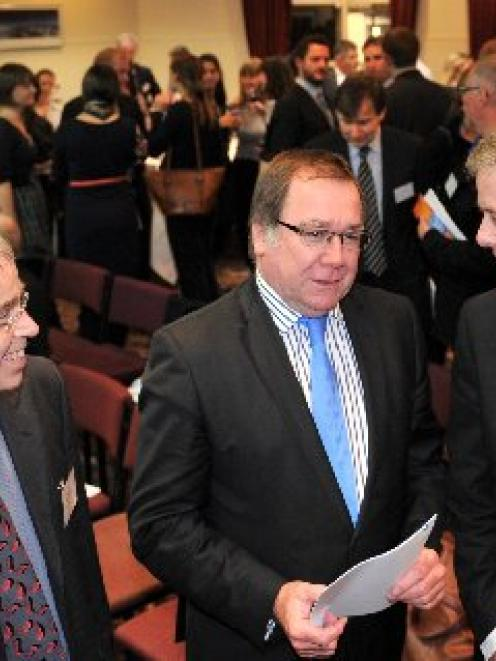 Having a chat during the opening of the Otago University's 47th Foreign Policy School last night...