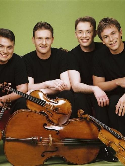 he Jerusalem Quartet (from left), Sergei Bressler (violin), Alexander Pavlovsky (violin), Kyril...