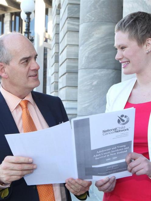 Health Minister Tony Ryall outside Parliament with Freemason Scholarship winner and University of...