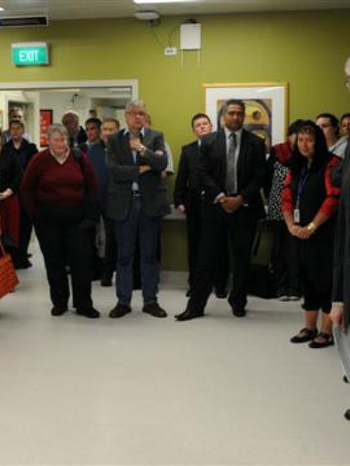 Health Minister Tony Ryall (right) opens Dunedin Hospital's new observation unit. Photo by Craig...