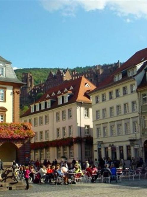 Heidelberg's pedestrian marketplace, surrounded by a web of car-free streets. Photo from...