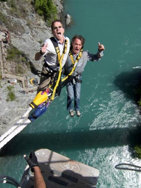 Henry van Asch and AJ Hackett tandem-jump off the Kawarau Bridge in 2008.