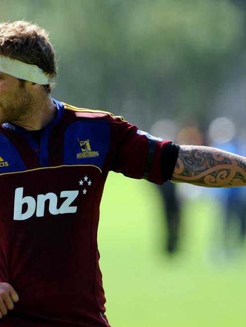 Highlanders lock Jarrad Hoeata gestures while playing  for the Highlanders Development team...
