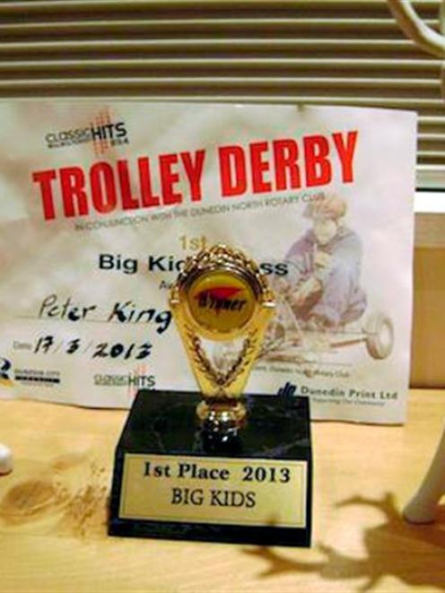 His trophy for winning the open section. Photo supplied.