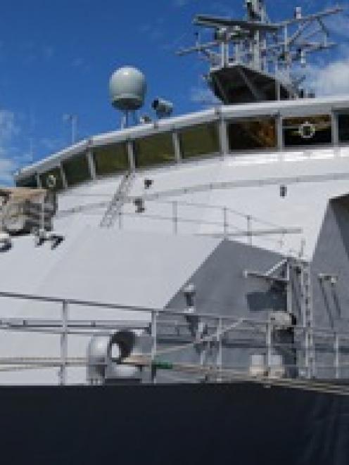 HMNZS Otago at her berth in Melbourne. Photo by navy.mil.nz