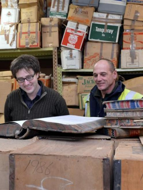 Hocken Collections archivist Dr David Murray (left) and Lund South Construction foreman Barry...
