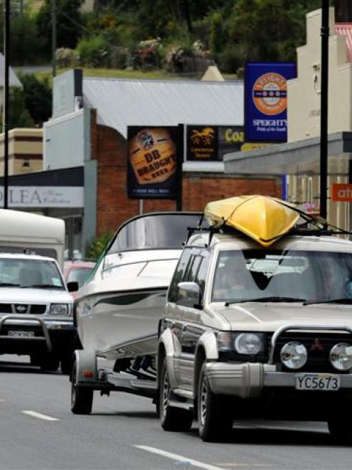 Holiday traffic heading towards Central Otago and the lakes travels through Lawrence yesterday....