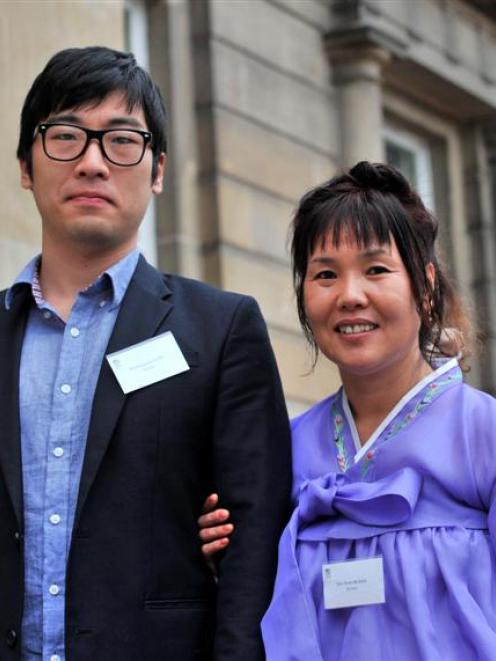 Hongrak Park (22) and his mother, Seon Mi Kim (47), of Korea, after becoming New Zealand citizens...