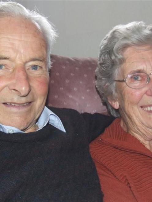 Hugh and Trixie Muldrew celebrate their 60th wedding anniversary yesterday. Photo by Sally Rae.