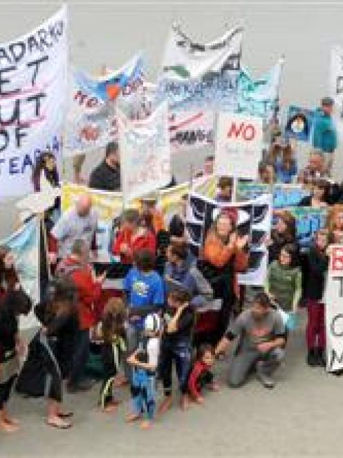 Hundreds of people at St Clair Beach in Dunedin on Saturday protest against deep-sea drilling....