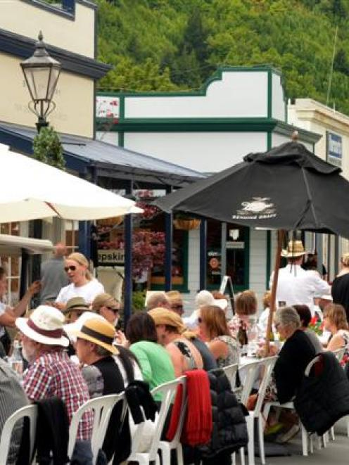 Hundreds of residents and visitors sit down for the annual Arrowtown Long Lunch in Buckingham St...